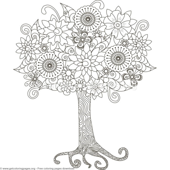 5 zentangle tree coloring pages getcoloringpages org