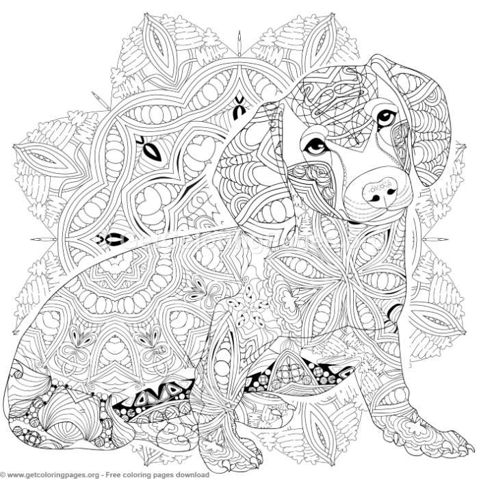 6 Dog Mandalas Coloring Pages