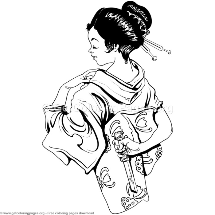6 Japanese Geisha Coloring Pages