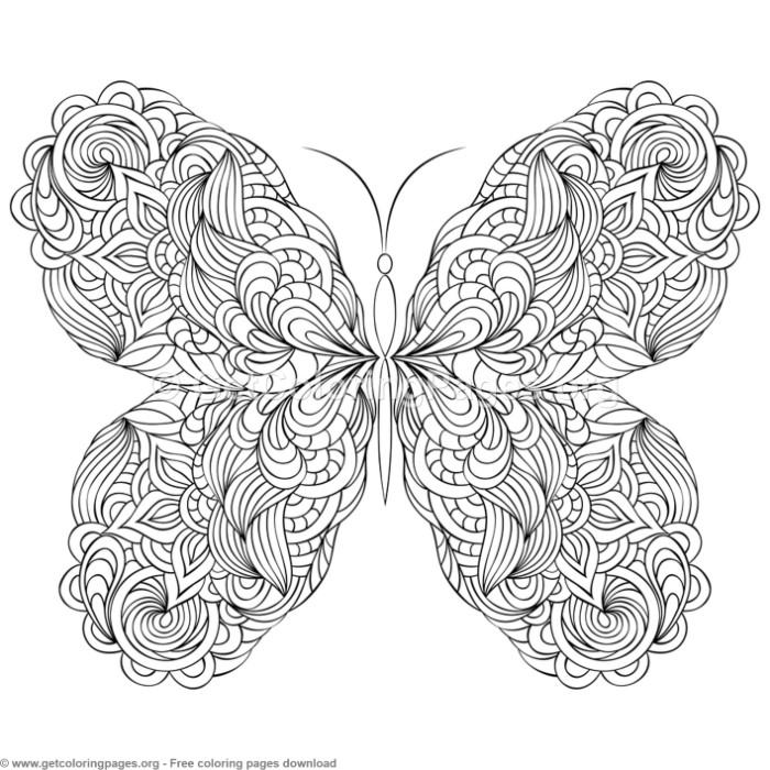 6 Zentangle Patterns Butterfly Coloring Pages