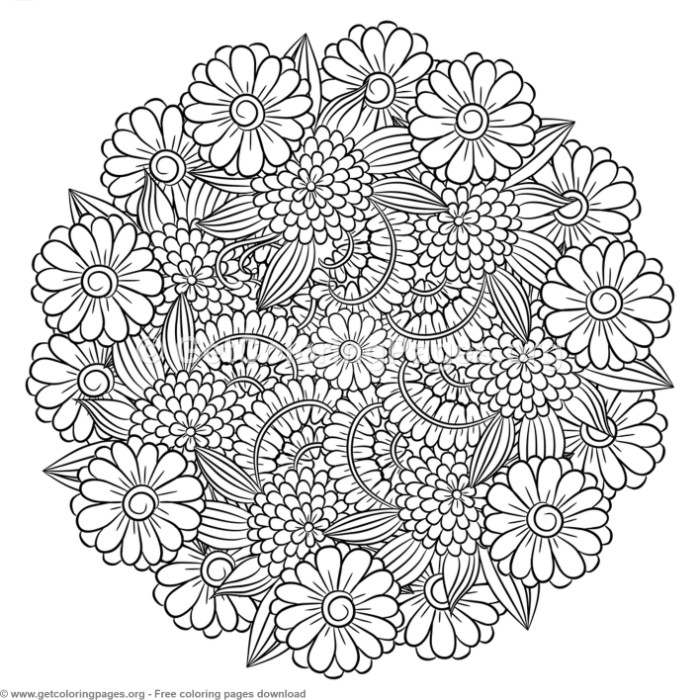 6 Zentangle Round Mandala Coloring Pages