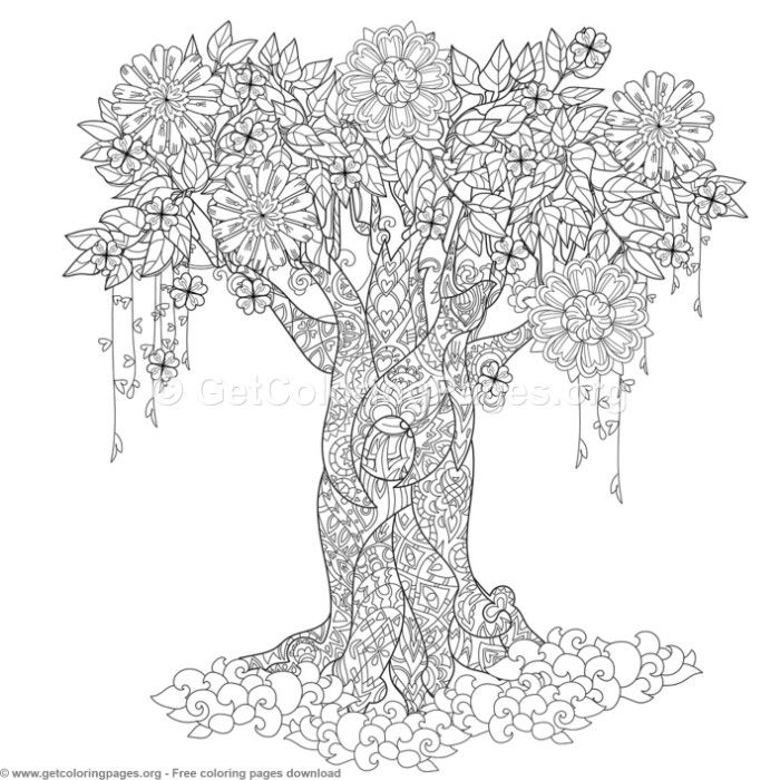 6 Zentangle Tree Coloring Pages Getcoloringpages Org