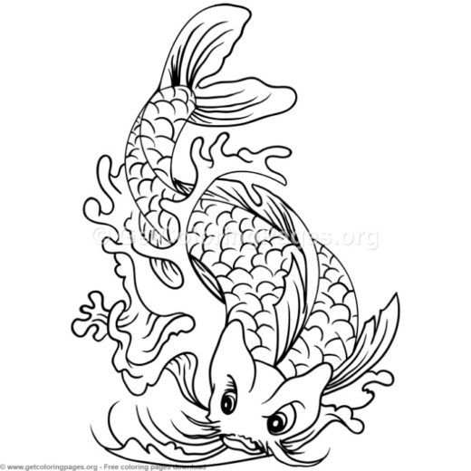 9 Koi Fish Coloring Pages