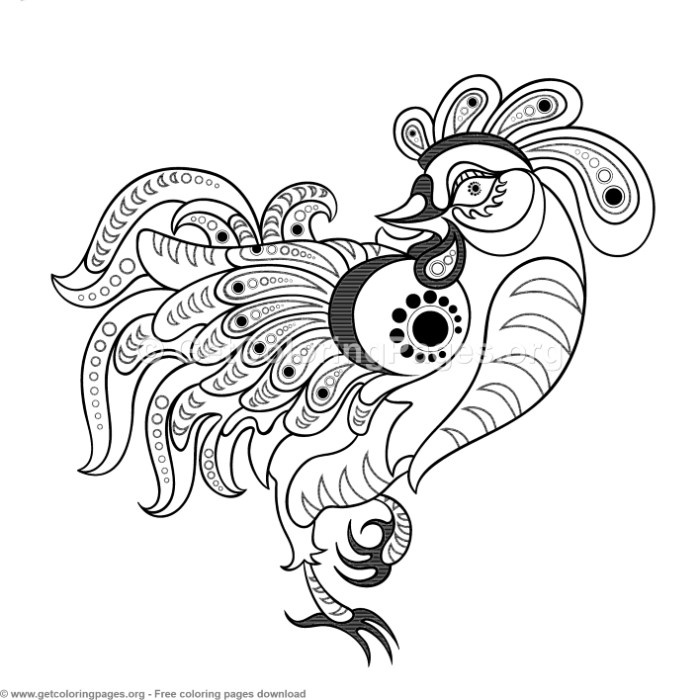 Chinese Horoscope Year of the Rooster Coloring Pages ...