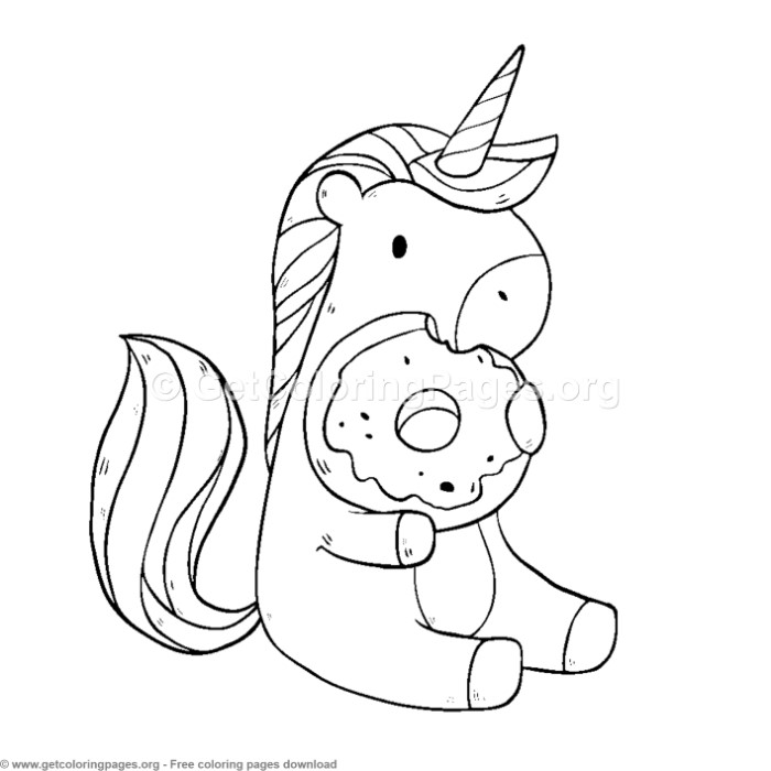 Cute Unicorn Eating Donuts Coloring Pages ...