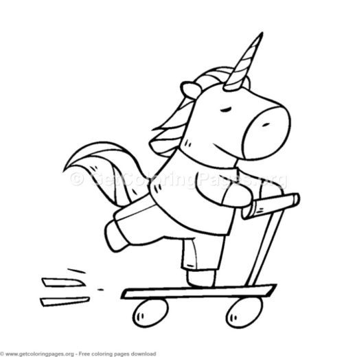 Cute Unicorn Riding A Scooter Coloring Pages
