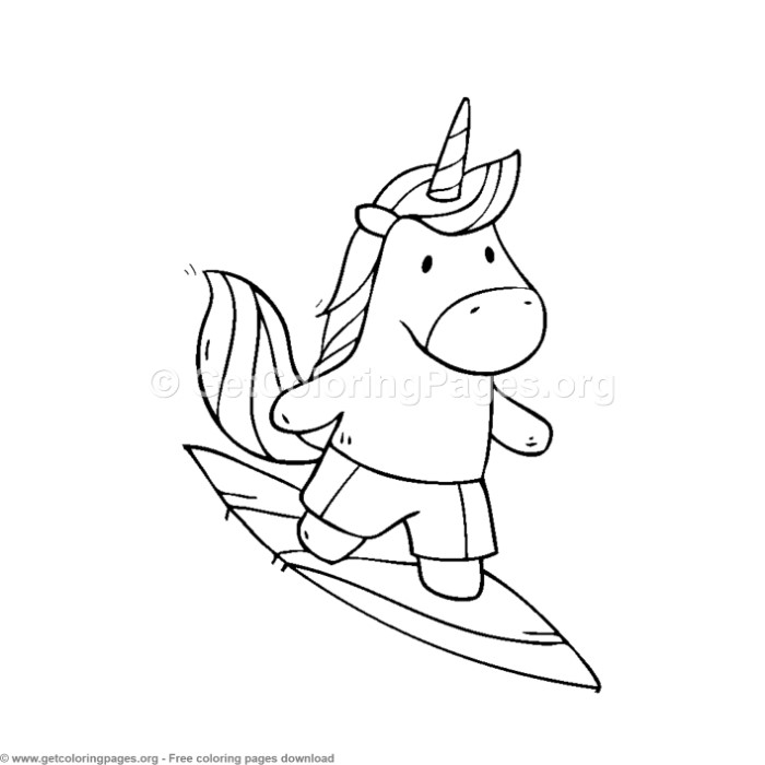 Cute Unicorn Surfer Coloring Pages Getcoloringpages Org