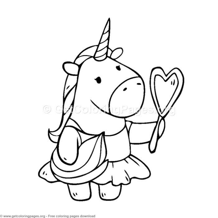 Cute Unicorn With Mirror Coloring Pages