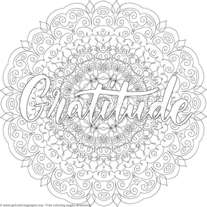 Gratitude Mandala Coloring Pages
