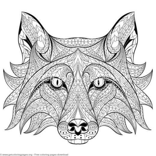 Patterned Zentangle Fox Coloring Pages