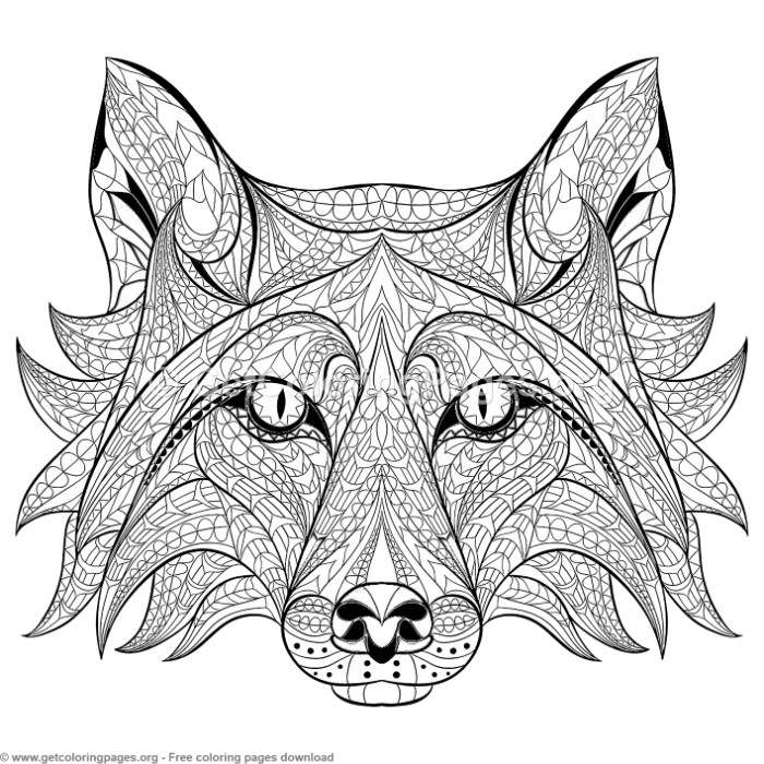 Patterned Zentangle Fox Coloring