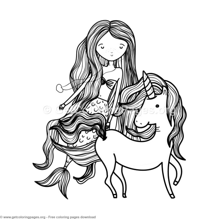 It is a graphic of Exceptional Unicorn And Mermaid Coloring Pages