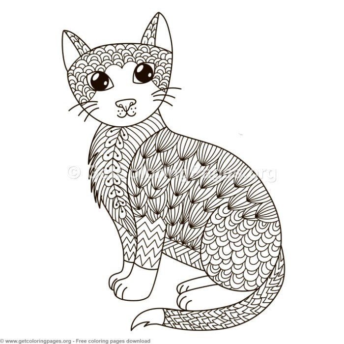 Zentangle Cat Pattern Coloring Pages