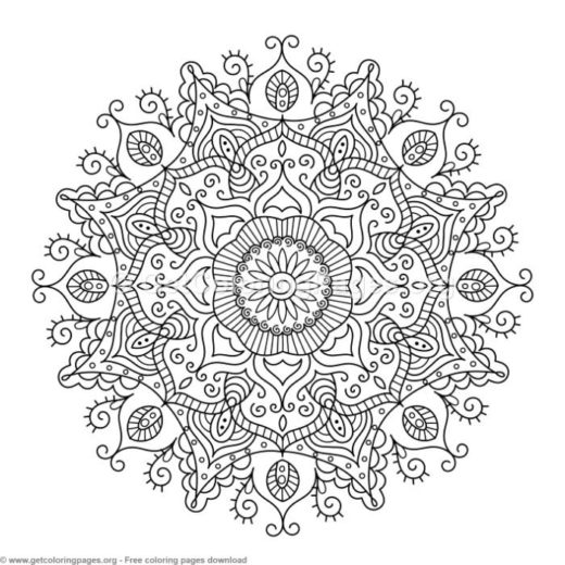 30 Zentangle Round Mandala Coloring Pages