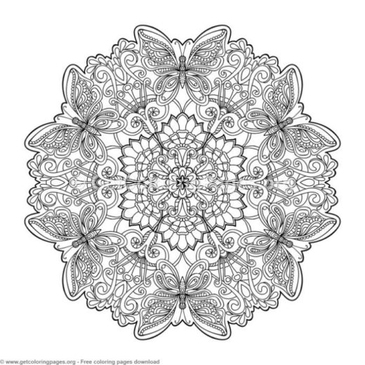 33 Zentangle Round Mandala Coloring Pages
