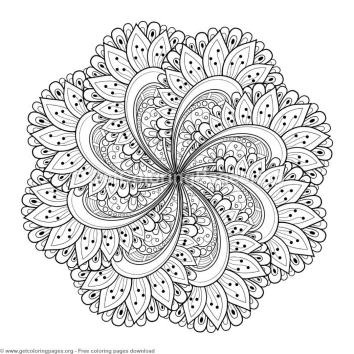 34 Zentangle Round Mandala Coloring