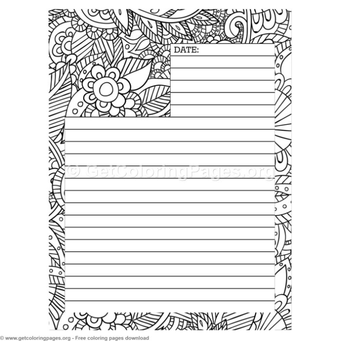 4 Journal Page Coloring Pages
