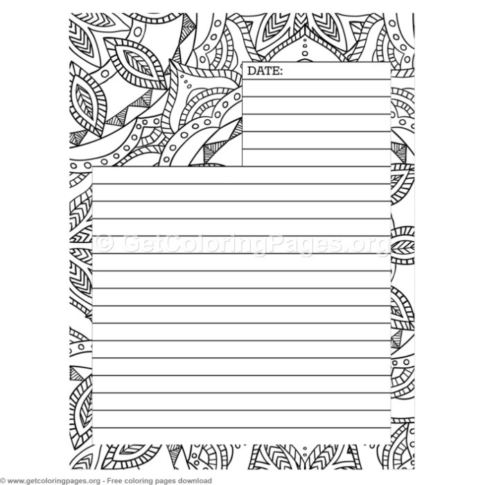 5 Journal Page Coloring Pages