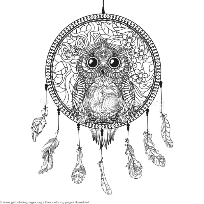 5 Owl Dream Catcher Coloring Pages