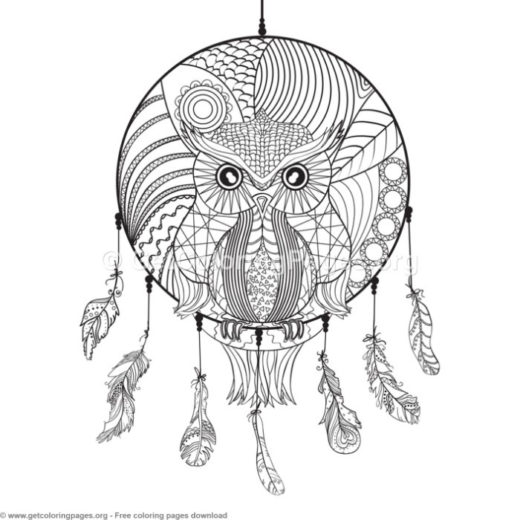 6 Owl Dream Catcher Coloring Pages