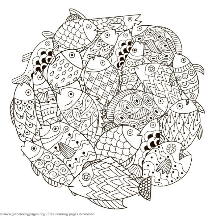 Circle Shape Fish Pattern Coloring Pages