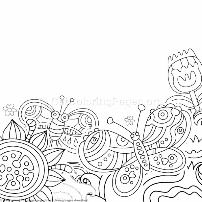 Creative Art Flowers And Butterflies Coloring Pages