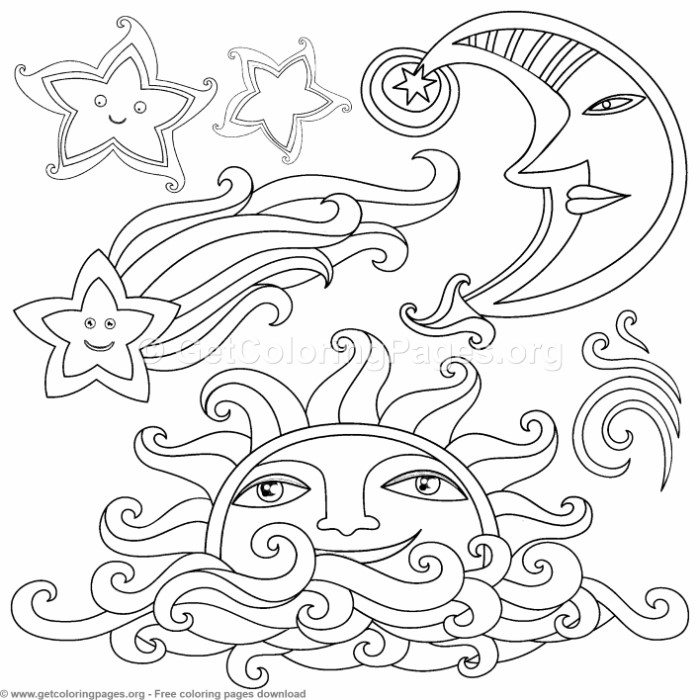 Creative Art Sun Moon Stars Coloring Pages – GetColoringPages.org
