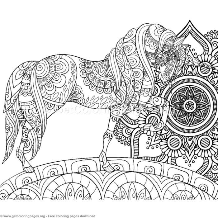 1 Zentangle Unicorn and Mandala Coloring Pages ...
