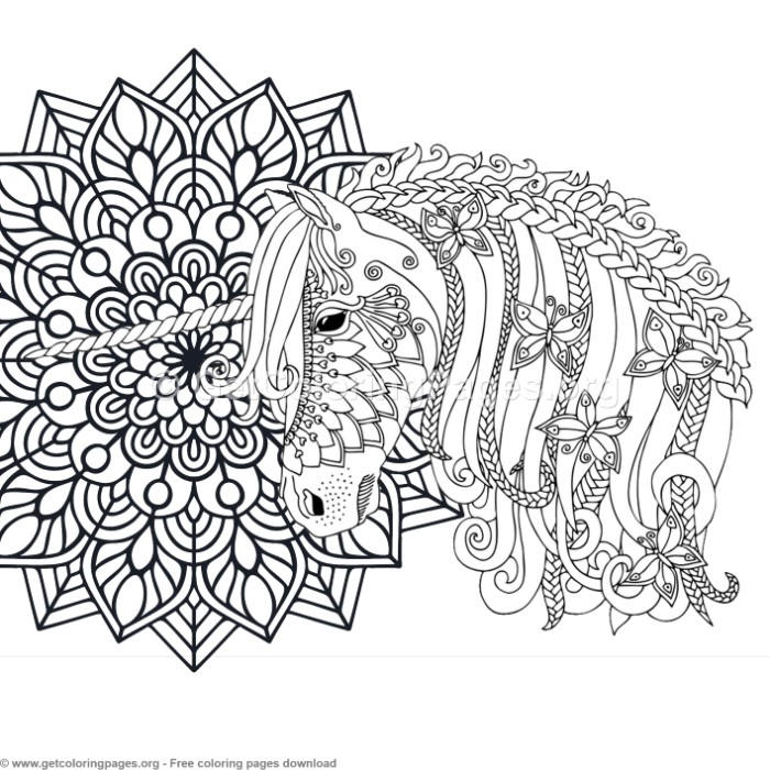 2 Zentangle Unicorn And Mandala Coloring Pages GetColoringPagesorg