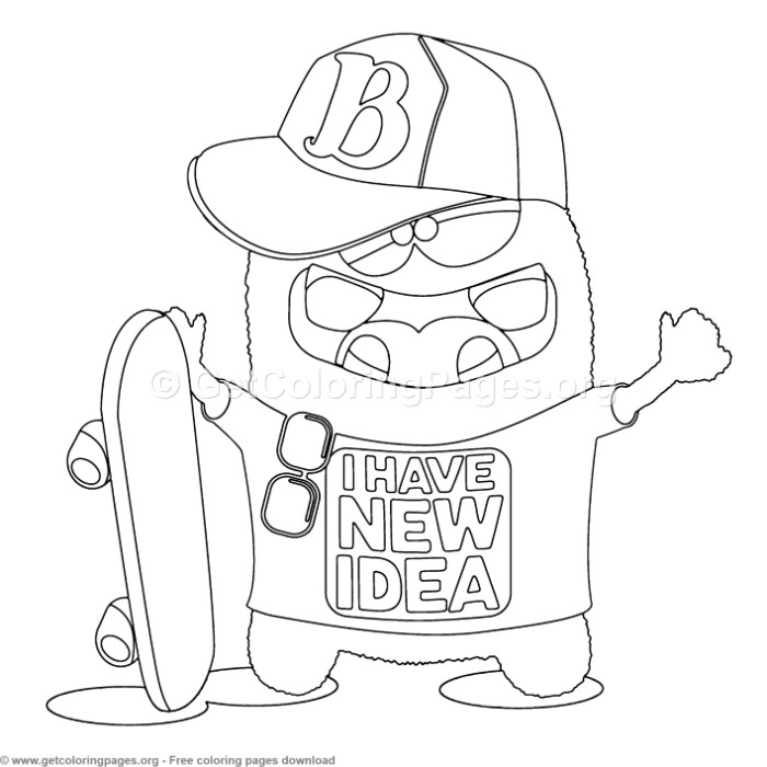 4 Funny Cartoon Character Coloring Pages – GetColoringPages.org