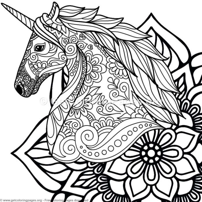 4 zentangle unicorn and mandala coloring pages. Black Bedroom Furniture Sets. Home Design Ideas
