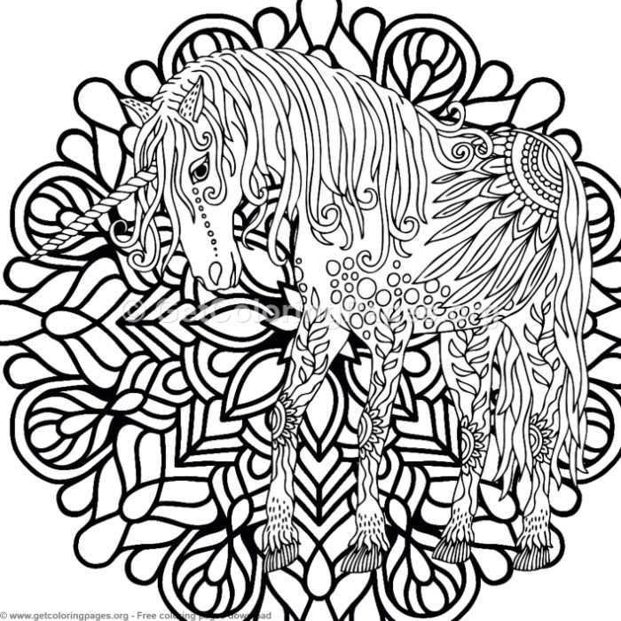 5 Zentangle Unicorn and Mandala Coloring Pages ...