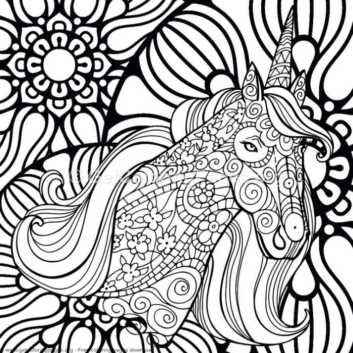 6 Zentangle Unicorn and Mandala Coloring Pages ...