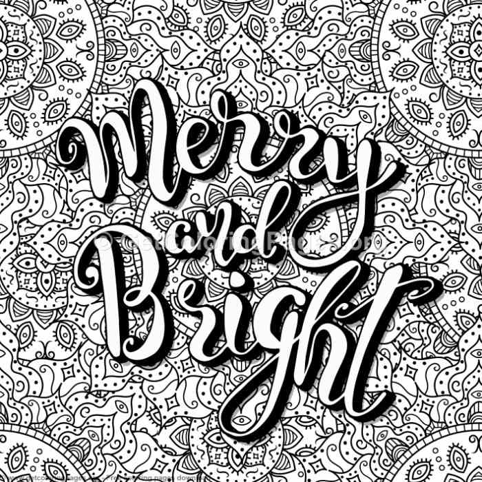 Zentangle Merry And Bright Coloring Pages
