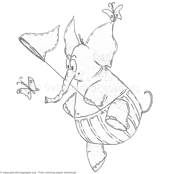 Funny Elephant Butterfly Coloring Pages - GetColoringPages.org