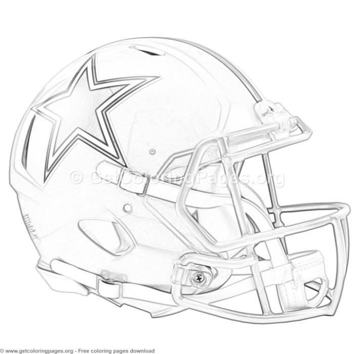 Grayscale Dallas Cowboys Football Helmet Coloring Pages