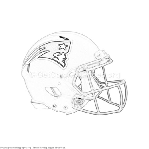 Grayscale New England Patriots Football Helmet Coloring Pages