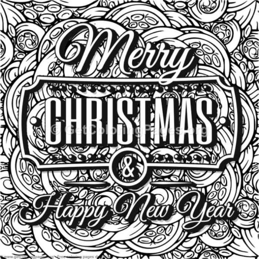 merry christmas happy new year coloring pages