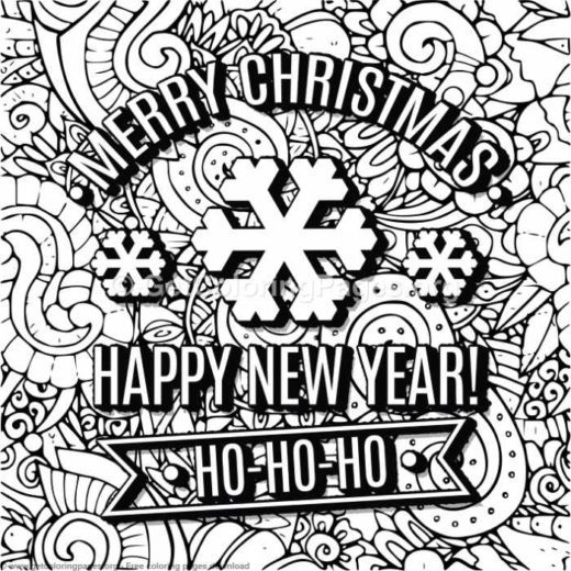 merry christmas happy new year ho ho ho coloring pages