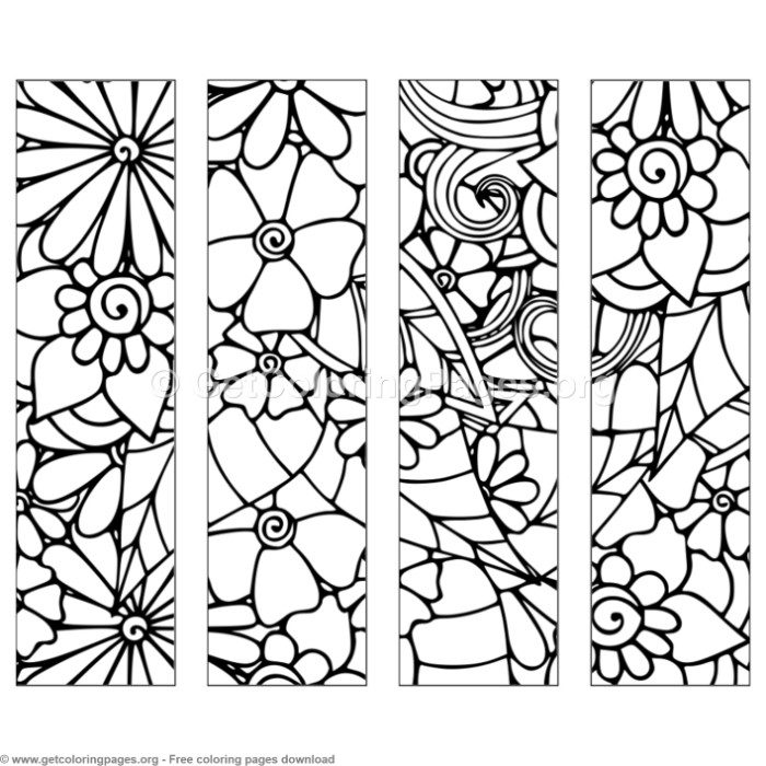 1 Floral Bookmark Coloring Pages