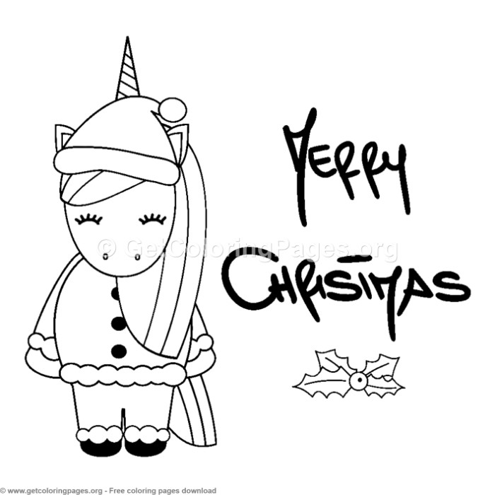 13 Cute Christmas Unicorn Coloring Pages ...