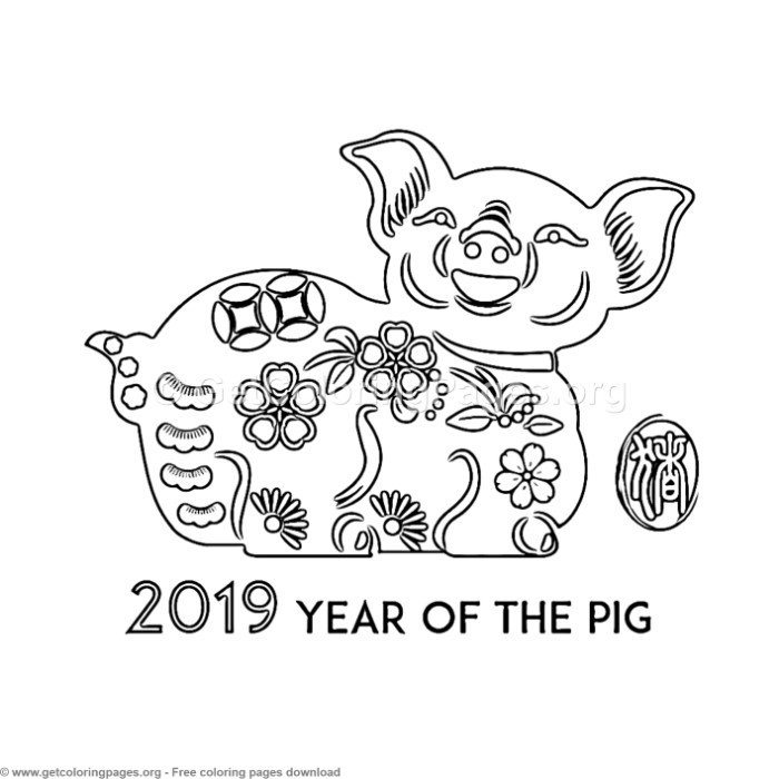 14 Year of the Pig Coloring Pages