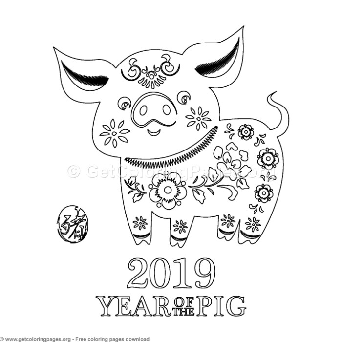 Year of the pig 2019 coloring pages ~ 3 Year of the Pig Coloring Pages – GetColoringPages.org