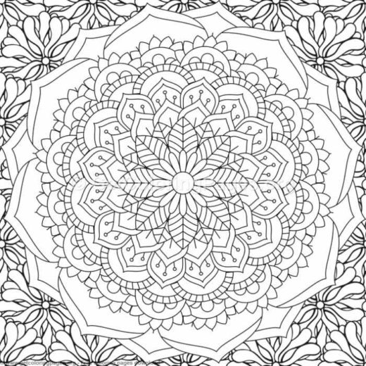 3 Zentangle Flower Mandala Coloring Pages