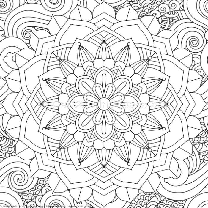 5 Zentangle Flower Mandala Coloring Pages GetColoringPagesorg