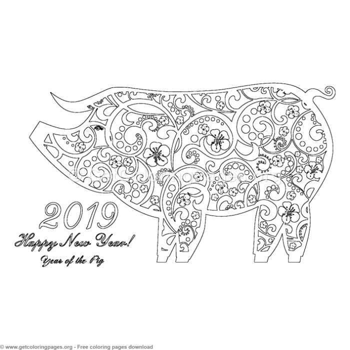 Year of the pig 2019 coloring pages ~ 6 Year of the Pig Coloring Pages – GetColoringPages.org