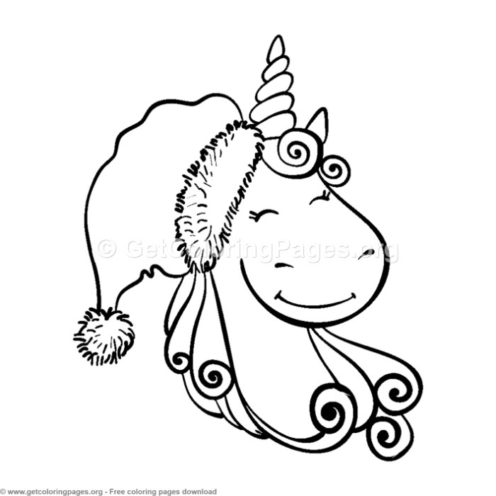 7 Cute Christmas Unicorn Coloring Pages - GetColoringPages.org