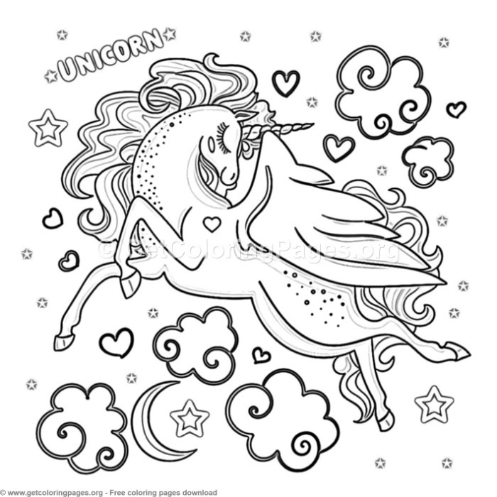 71 Cute Cartoon Unicorn Coloring