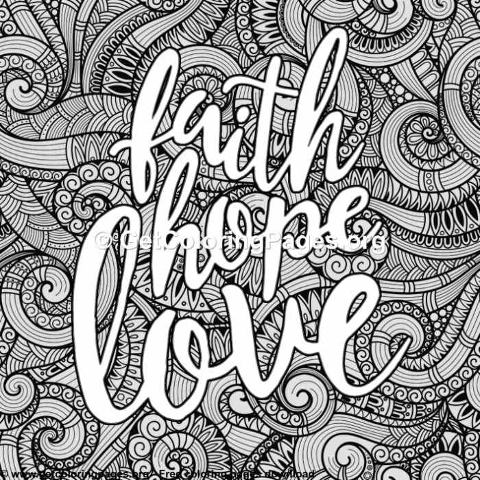 Love Lettering Faith Hope Love Coloring Pages