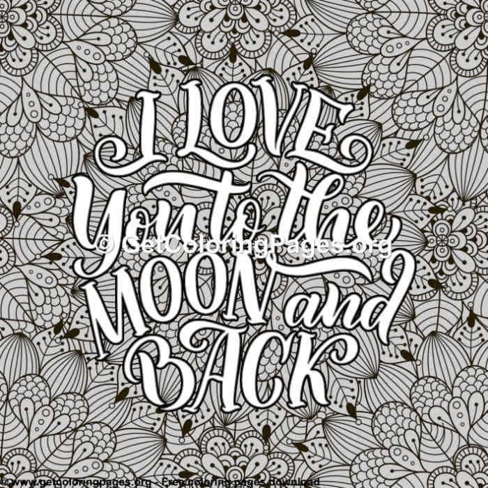 Love Lettering I Love You To The Moon And Back Coloring
